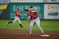 Billings Mustangs first baseman Leonardo Seminati (11) covers the bag during a Pioneer League game against the Idaho Falls Chukars at Melaleuca Field on August 22, 2018 in Idaho Falls, Idaho. The Idaho Falls Chukars defeated the Billings Mustangs by a score of 5-3. (Zachary Lucy/Four Seam Images)