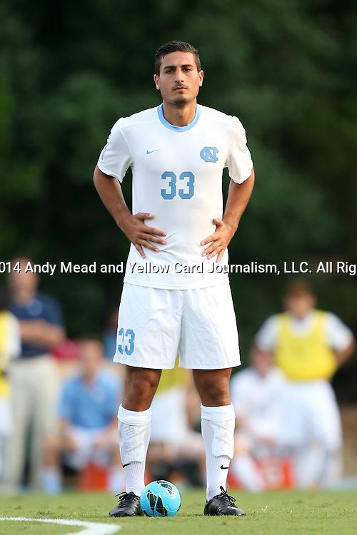 29 August 2014: North Carolina's Raby George (SWE). The University of North Carolina Tar Heels hosted the University of California Bears at Fetzer Field in Chapel Hill, NC in a 2014 NCAA Division I Men's Soccer match. North Carolina won the game 3-1.