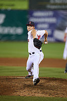 Salem Red Sox relief pitcher Durin O'Linger (23) delivers a pitch during a game against the Lynchburg Hillcats on May 10, 2018 at Haley Toyota Field in Salem, Virginia.  Lynchburg defeated Salem 11-5.  (Mike Janes/Four Seam Images)