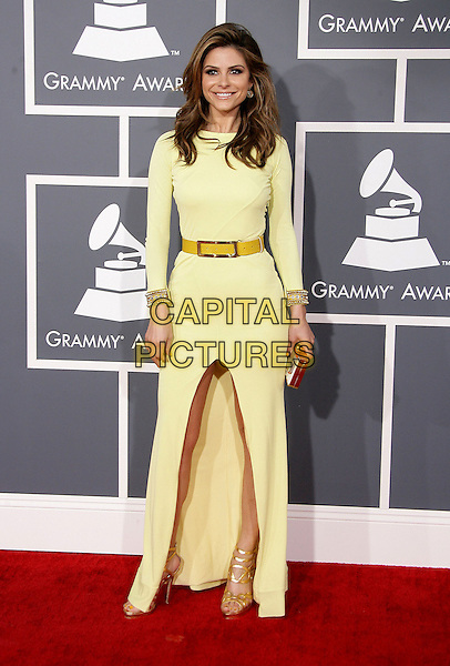 Maria Menounos.The 55th Annual GRAMMY Awards held at STAPLES Center Los Angeles, California, USA..February 11th, 2013.grammys full length yellow dress belt  clutch bag gold sandals shoes .CAP/ADM.©AdMedia/Capital Pictures.