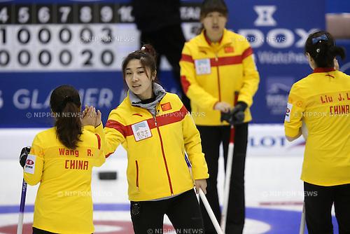 Liu Sijia (CHN),<br /> MARCH 19, 2015 - Curling : World Women's Curling Championship 2015 Round Robin match between Finland and China at Tsukisamu Gymnasium in Sapporo, Hokkaido, Japan. (Photo by Jun Tsukida/AFLO SPORT)