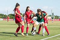 Bradenton, FL - Sunday, June 12, 2018: Reyna Reyes, Hannah Bebar during a U-17 Women's Championship Finals match between USA and Mexico at IMG Academy.  USA defeated Mexico 3-2 to win the championship.