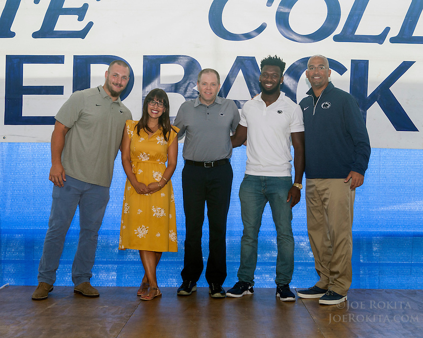 State College, PA - 08/31/2016:  Week #1 State College Quarterback Club luncheon at Mount Nittany Club at Beaver Stadium in University Park, PA.<br /> <br /> This week's opponent: Kent State<br /> <br /> Players: Brian Gaia, Malik Golden<br /> <br /> Coach: James Franklin<br /> <br /> Sponsor: Lions Pride<br /> <br /> Photos by Joe Rokita / JoeRokita.com