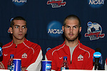 15 December 2007: Ohio State's Eric Brunner and Doug Verhoff. The Ohio State Buckeyes held a press conference at SAS Stadium in Cary, North Carolina one day before playing in the NCAA Division I Mens College Cup championship game.