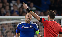 John Terry of Chelsea confronts the Referee during the UEFA Champions League Group G match between Chelsea and Dynamo Kyiv at Stamford Bridge, London, England on 4 November 2015. Photo by Andy Rowland.