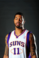 Dec. 16, 2011; Phoenix, AZ, USA; Phoenix Suns forward Markieff Morris poses for a portrait during media day at the US Airways Center. Mandatory Credit: Mark J. Rebilas-