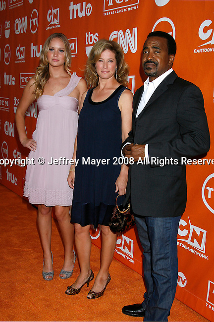 Actors Jennifer Lawrence, Nancy Travis and Tim Meadows (L-R) arrive at the Turner Broadcasting TCA Party at The Oasis Courtyard at The Beverly Hilton Hotel on July 11, 2008 in Beverly Hills, California.