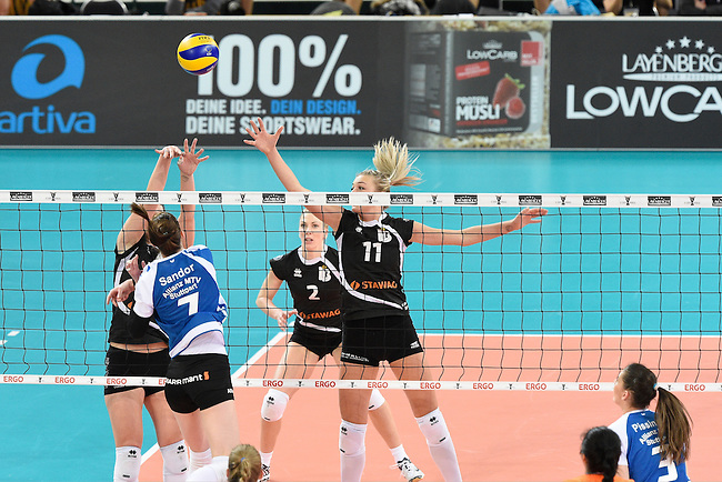 Halle/Westfalen, Germany, March 01: during the Volleyball DVV-Pokalfinale (Damen) between Ladies in Black Aachen and Allianz MTV Stuttgart on March 1, 2015 at the Gerry Weber Stadion in Halle/Westfalen, Germany. Final score 2-3 (25-17, 25-20, 19-25, 19-25, 13-15). (Photo by Dirk Markgraf / www.265-images.com) *** Local caption *** Renata Sandor #7 of Allianz MTV Stuttgart, Simona Kosova #11 of Ladies in Black Aachen