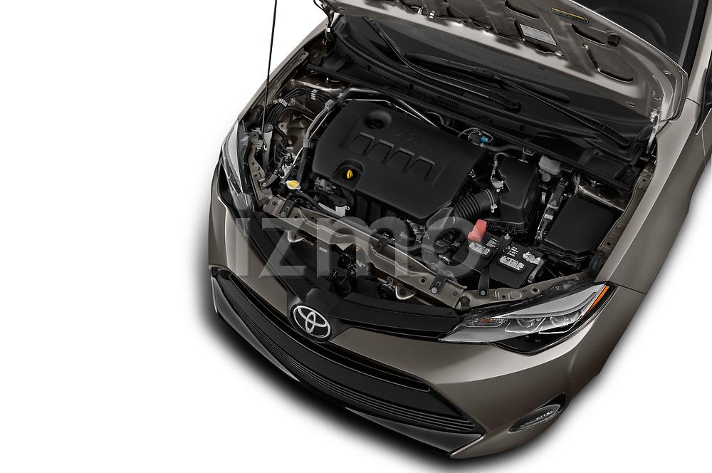 Car stock 2017 Toyota Corolla XLE Premium 4 Door Sedan engine high angle detail view