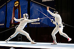 25 MAR 2016:  Penn State's Jessie Gottesman-Radanovich scores a point against Princeton's Charlene Liu during her win in the finals of the women's epee at the Division I Women's Fencing Championship held at the Gosman Sports and Convention Center in Waltham, MA.   Damian Strohmeyer/NCAA Photos