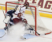 Morgan Clark (StFX - 33), Johnny Gaudreau (BC - 13) - The Boston College Eagles defeated the visiting St. Francis Xavier University X-Men 8-2 in an exhibition game on Sunday, October 6, 2013, at Kelley Rink in Conte Forum in Chestnut Hill, Massachusetts.