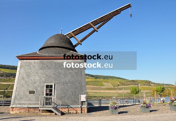 Alter Rheinkran (1787) am Rheinufer in Bingen, seit 2002 Teil des UNESCO-Welterbes Oberers Mittelrheintal<br /> <br /> Bingen's old crane (1787)