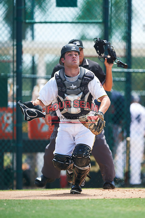 GCL Pirates catcher Boomer Synek (22) during a game against the GCL Braves on August 10, 2016 at Pirate City in Bradenton, Florida.  GCL Braves defeated the GCL Pirates 5-1.  (Mike Janes/Four Seam Images)