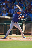 Cody Thomas (95) of the Los Angeles Dodgers at bat during a Cactus League Spring Training game against the Texas Rangers on March 8, 2020 at Surprise Stadium in Surprise, Arizona. Rangers defeated the Dodgers 9-8. (Tracy Proffitt/Four Seam Images)