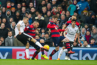 Fulham's Aleksandar Mitrovic during the Sky Bet Championship match between Fulham and Queens Park Rangers at Craven Cottage, London, England on 17 March 2018. Photo by Andrew Aleksiejczuk / PRiME Media Images.