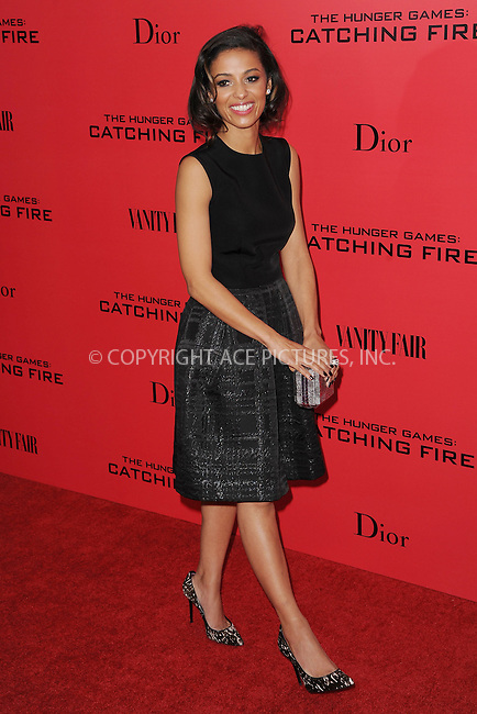 WWW.ACEPIXS.COM<br /> November 20, 2013...New York City<br /> <br /> Meta Golding attending a premiere of 'The Hunger Games: Catching Fire' on November 20, 2013 in New York City.<br /> <br /> Byline: Kristin Callahan/Ace Pictures<br /> <br /> ACE Pictures, Inc.<br /> tel: 646 769 0430<br />       212 243 8787<br /> e-mail: info@acepixs.com<br /> web: http://www.acepixs.com