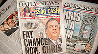 New York newspaper covers on Thursday, January 9, 2014 feature New Jersey Governor Chris Christie and his involvement in the closing of lanes on the George Washington Bridge during rush hours in Sept. 2013 as punishment for Ft. Lee, NJ Mayor Mark Sokolich not supporting him. Christie had an almost 2-hour press conference today defending himself and blaming his staff for the alleged retribution.  (© Richard B. Levine)