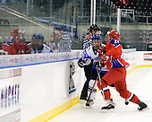 Teemu Pulkkinen (Finland - 20), Nikita Zaycev (Russia - 22) - Russia defeated Finland 4-0 at the Urban Plains Center in Fargo, North Dakota, on Friday, April 17, 2009, in their semi-final match during the 2009 World Under 18 Championship.
