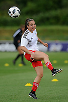 Megan Wynne of Wales Women's' during the pre-match warm-up for the Women's International Friendly match between Wales and New Zealand at the Cardiff International Sports Stadium in Cardiff, Wales, UK. Tuesday 04 June, 2019