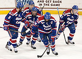 Chad Ruhwedel (UML - 3), Derek Arnold (UML - 29), Ryan McGrath (UML - 10), Riley Wetmore (UML - 16), Zack Kamrass (UML - 27) - The University of Massachusetts Lowell River Hawks defeated the Boston College Eagles 4-2 (EN) on Tuesday, February 26, 2013, at Kelley Rink in Conte Forum in Chestnut Hill, Massachusetts.