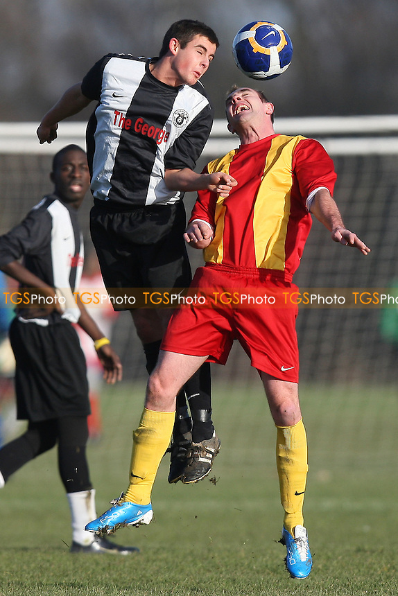 Zeppelin (yellow/red) vs Millwall Albion (black/white) - East London Sunday League Football at South Marsh, Hackney Marshes - 12/12/10 - MANDATORY CREDIT: Gavin Ellis/TGSPHOTO - Self billing applies where appropriate - Tel: 0845 094 6026