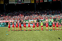 Portland, OR - Saturday July 15, 2017: Thorns wave to supporters after the match  during a regular season National Women's Soccer League (NWSL) match between the Portland Thorns FC and the North Carolina Courage at Providence Park.