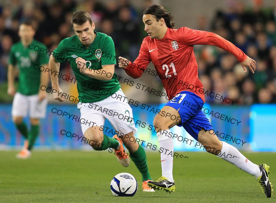 Fudbal Soccer<br /> Irska v Srbija prijateljski mec friendly match<br /> Lazar Markovic (R) and Seamus Coleman<br /> Dublin, 03.05.2014.<br /> foto: Srdjan Stevanovic/Starsportphoto &copy;