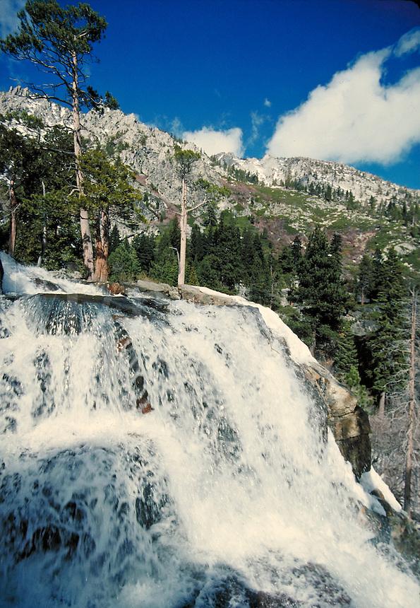 scenic of waterfall in Sierra Nevada mountain range. recreation, outdoors. Lake Tahoe California.