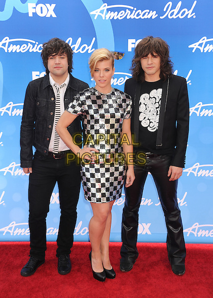 "Neil Perry, Kimberly Perry, Reid Perry of The Band Perry .arriving at FOX's ""American Idol"" Grand Finale at Nokia Theatre L.A. Live in Los Angeles, California, USA,.May 16th 2013..full length band group music hand on hip black silver checked chequered dress suit tie .CAP/ROT/TM.©Tony Michaels/Roth Stock/Capital Pictures"