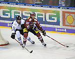 08.09.2017, Mercedes Benz Arena, Berlin, GER, 1.DEL, EISBAEREN BERLIN  VS.  THOMAS SABO ICE TIGERS, im Bild <br /> Andre Rankel (Eisbaeren Berlin #24), Philipe Dupius (Nuernberg IceTigers #91), Andreas Jenike (Nuernberg IceTigers #29)<br /> <br />      <br /> Foto &copy; nordphoto / Engler