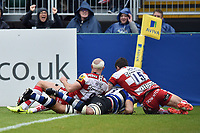 Taulupe Faletau of Bath Rugby scores his first try of the match. Aviva Premiership match, between Bath Rugby and Gloucester Rugby on April 30, 2017 at the Recreation Ground in Bath, England. Photo by: Patrick Khachfe / Onside Images