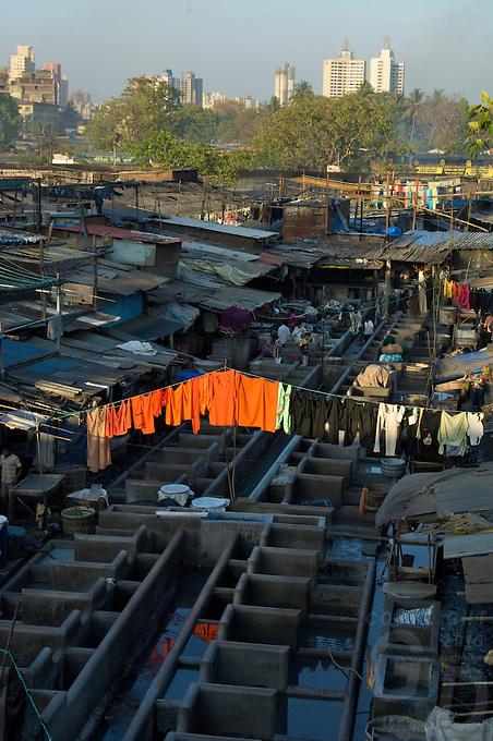Mumbai massive washing area, the general laundry, the extrmes,Banganga area,Mumbai, India