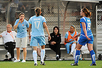 Sky Blue FC interim head coach Kelly Lindsey talks with Keeley Dowling (17). Sky Blue FC defeated the Boston Breakers 2-1 during a Women's Professional Soccer match at Yurcak Field in Piscataway, NJ, on May 31, 2009.