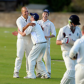 Watsonians CC V Uddingston CC, Scottish National Cricket League, Premier Division, at Myreside, Edinburgh - Uddingston's Paul Hoffmann celebrates his hat-trick (his first since 2001) with Gavin Bradley and Pro Tom PLant (right). Hoffmann's victims were the first three of 4 wickets in four balls for his side, though not enough in the end, with the home side passing Uddingston's 197 off the second last ball of the game to claim victory - Picture by Donald MacLeod 25.07.09