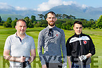 Ken O'Connor, Paul White and Rian O'Sullivan teeing off at on the first hole at the Kerry schoolboys soccer golf classic on Monday