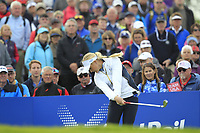 Charley Hull of Team Europe on the 10th tee during Day 1 Fourball at the Solheim Cup 2019, Gleneagles Golf CLub, Auchterarder, Perthshire, Scotland. 13/09/2019.<br /> Picture Thos Caffrey / Golffile.ie<br /> <br /> All photo usage must carry mandatory copyright credit (© Golffile | Thos Caffrey)