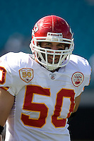 November 08, 2009:     Kansas City Chiefs linebacker Mike Vrabel (50) warms up prior to the start of action between the AFC West  Kansas City Chiefs and AFC South Jacksonville Jaguars at Jacksonville Municipal Stadium in Jacksonville, Florida............