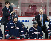 Joe Pereira (UConn - Assistant Coach), Karl El-Mir (UConn - 16), Benjamin Freeman (UConn - 24), Mike Cavanaugh (UConn - Head Coach) - The Boston College Eagles defeated the visiting UConn Huskies 2-1 on Tuesday, January 24, 2017, at Kelley Rink in Conte Forum in Chestnut Hill, Massachusetts.