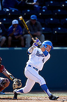 Eric Filia #4 of the UCLA Bruins bats against the Oklahoma Sooners at Jackie Robinson Stadium on March 9, 2013 in Los Angeles, California. (Larry Goren/Four Seam Images)