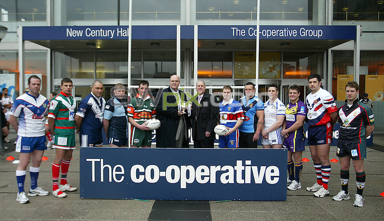 PICTURE BY VAUGHN RIDLEY/SWPIX.COM - Rugby League - National League - Co-operative National Leagues Launch - Manchester, England - 10/03/08...Copyright - Simon Wilkinson - 07811267706..National League One players, RFL's Nigel Wood and Co-op's Bill Holt.