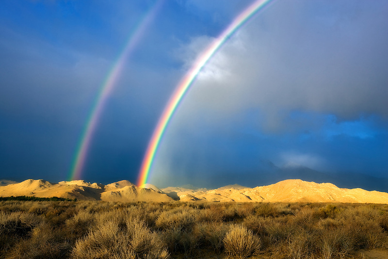 Double rainbow over Eastern Sierra Mountains near Bishop, California