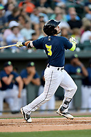 Third baseman Michael Paez (3) of the Columbia Fireflies bats in a game against the West Virginia Power on Friday, May 19, 2017, at Spirit Communications Park in Columbia, South Carolina. West Virginia won, 3-1. (Tom Priddy/Four Seam Images)