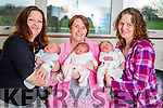 New years babies born at Tralee General Hospital  From left: Marie Gallagher, Currow with Baby Jacob born at 19.50, Angela Dillon Lyrecrompane and baby Louise born at 15.35 and Siobhan Flynn Monavalley, Tralee with Daniel born at 16.40.