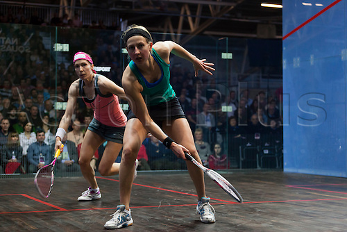 16.02.2014 Manchester, England. Madeline Perry in action against Alison Waters during the Womens Final of The British National Squash Championships from the National Squash Centre.