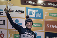 Katie Compton (USA/KFC Racing p/b Trek/Panache) on podium after finishing 2nd. <br /> <br /> Women's Race<br /> UCI CX World Cup Zolder / Belgium 2017