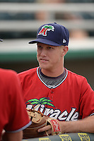 Fort Myers Miracle catcher Alex Swim (17) before a game against the Tampa Yankees on April 15, 2015 at Hammond Stadium in Fort Myers, Florida.  Tampa defeated Fort Myers 3-1 in eleven innings.  (Mike Janes/Four Seam Images)