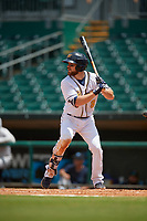 Montgomery Biscuits Brett Sullivan (8) at bat during a Southern League game against the Mobile BayBears on May 2, 2019 at Riverwalk Stadium in Montgomery, Alabama.  Mobile defeated Montgomery 3-1.  (Mike Janes/Four Seam Images)