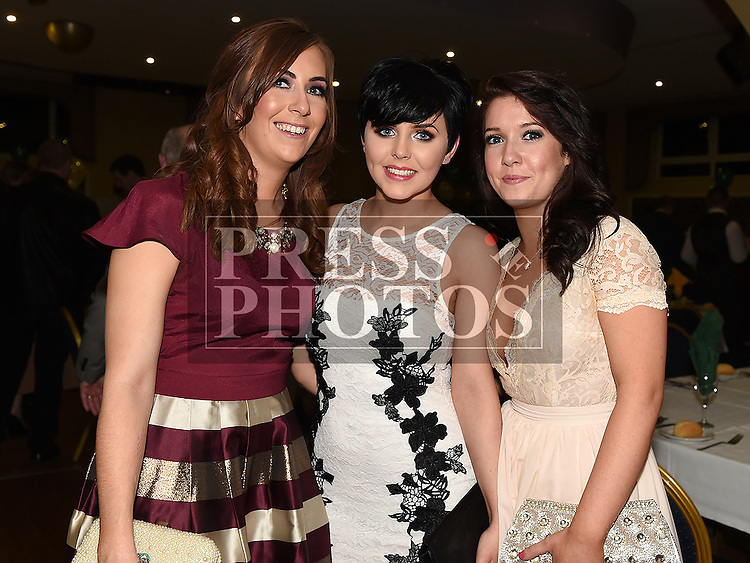 Sarah Cullen, Emma Tuite and Karen Bradley pictured at the Naomh Fionnbarra JFC celebration and presentation night in the Grove House Dunleer. Photo:Colin Bell/pressphotos.ie
