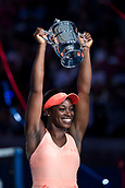 9th September 2017, FLushing Meadows, New York, USA;  SLOANE STEPHENS (USA) celebrates with the winners trophy after winning her women's final match of the 2017 US Open tennis tournament  at Billie Jean King National Tennis Center in Flushing Meadow, NY.