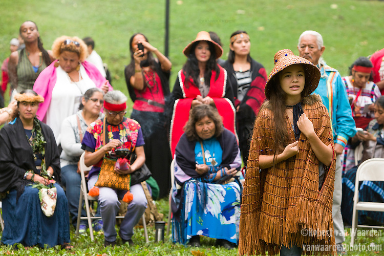 Ta'Kaiya Blaney speaks during a sunrise ceremony in Central Park. Indigenous Leaders gathered for a sunrise ceremony prior to the Peoples Climate March in New York. More than 300,000 march in solidarity for Climate accountability, at the People's Climate March on September 21, 2014. (Credit: Robert van Waarden)